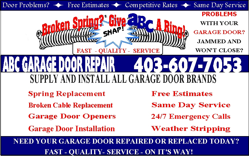 ABC Garage Door Repair, 607 Templeside Road NE, Calgary, Alberta > Calgary, T1Y 3M4, Canada
